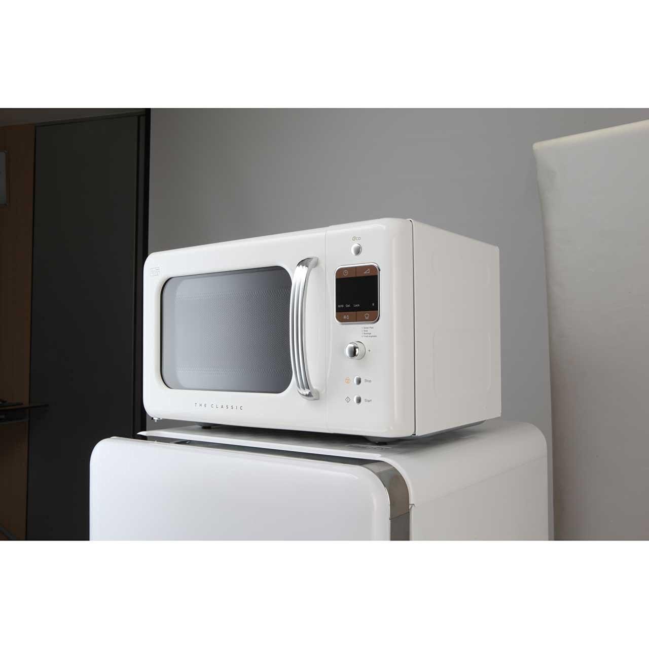 Creme White Daewoo Small Retro Microwave Oven White
